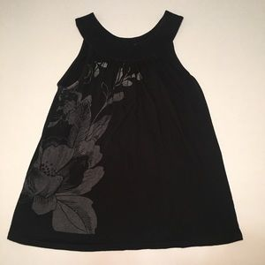 Express Black Floral Tank Top